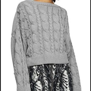 TOPSHOP Crop Gray Batwing Sleeve Cable Sweater